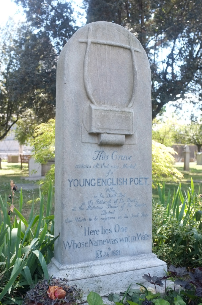 Grave of British poet Keats at the protestant cemetery in Rome