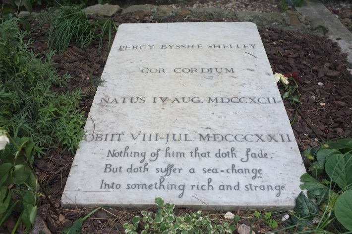 Grave of British poet Shelley at the protestant cemetery in Rome