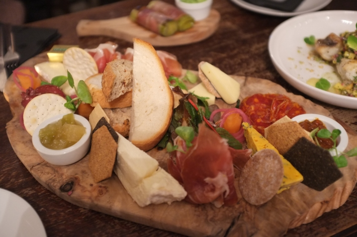 Mixed board to share at WOOD. Wine & Deli, Manchester